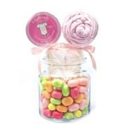 bobonon glas mit babylolli aus gestreifter rosa babykleidung
